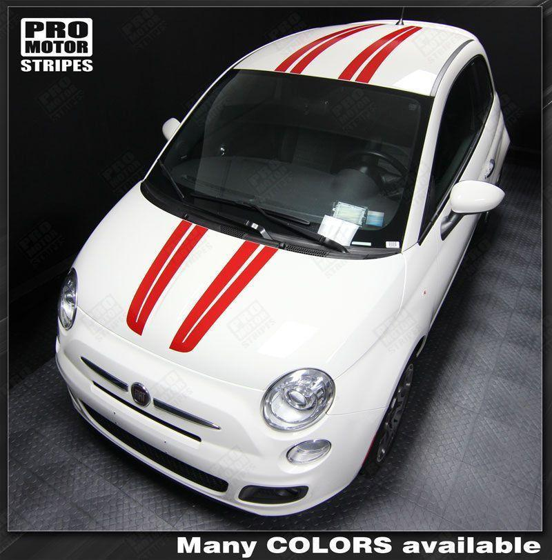 2007 2008 2009 2010 2011 2012 2013 2014 2015 Fiat 500 hood  roof Decals Stripes 152588450866-1