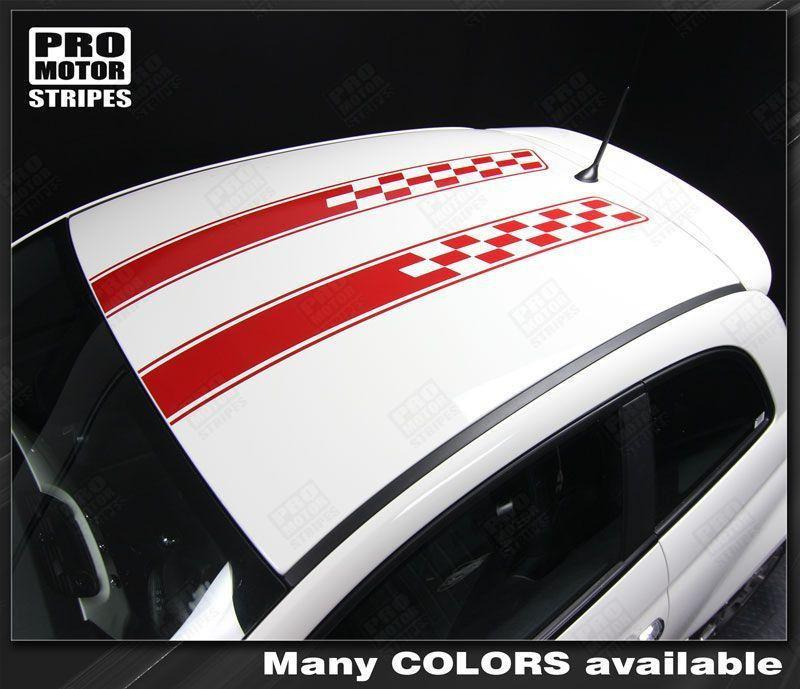 Fiat 500 2007-2015 Hood and Roof Double Stripes Auto Decals - Pro Motor Stripes