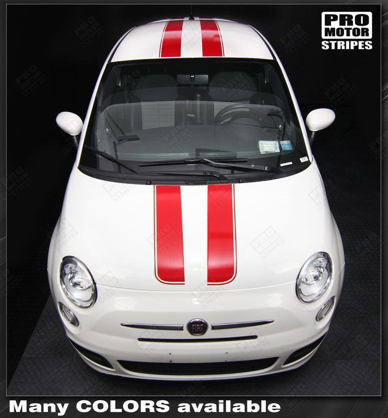 Fiat 500 2007-2015 Over-The-Top Double Stripes Auto Decals - Pro Motor Stripes