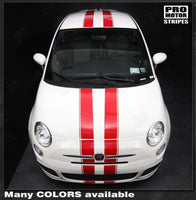 Fiat 500 2007-2015 Pre-cut Over-The-Top Double Stripes Auto Decals - Pro Motor Stripes