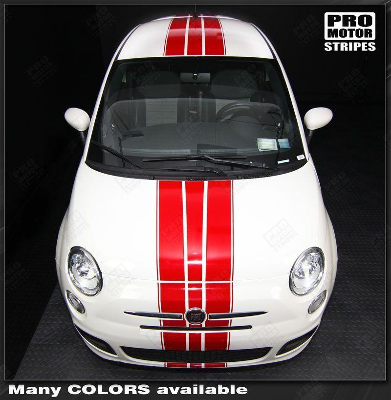 Fiat 500 2007-2015 Pre-cut Over-The-Top Triple Stripes Auto Decals - Pro Motor Stripes