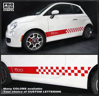 2007 2008 2009 2010 2011 2012 2013 2014 2015 Fiat 500 side  rocker panel Decals Stripes 152620090958-1