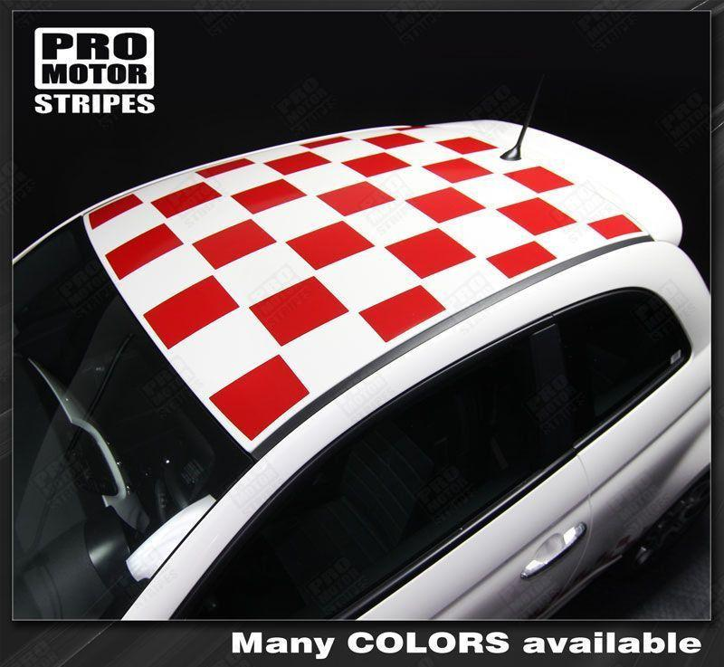 Fiat 500 2007-2015 Roof Top Checkered Rally Stripes Auto Decals - Pro Motor Stripes