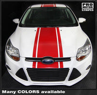 Ford Focus 2011-2014 Pre-cut Over-The-Top Center Stripes Auto Decals - Pro Motor Stripes