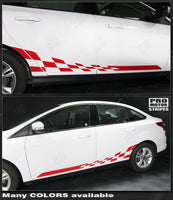 Ford Focus 2011-2014 Rocker Panel Checkered Side Stripes Auto Decals - Pro Motor Stripes