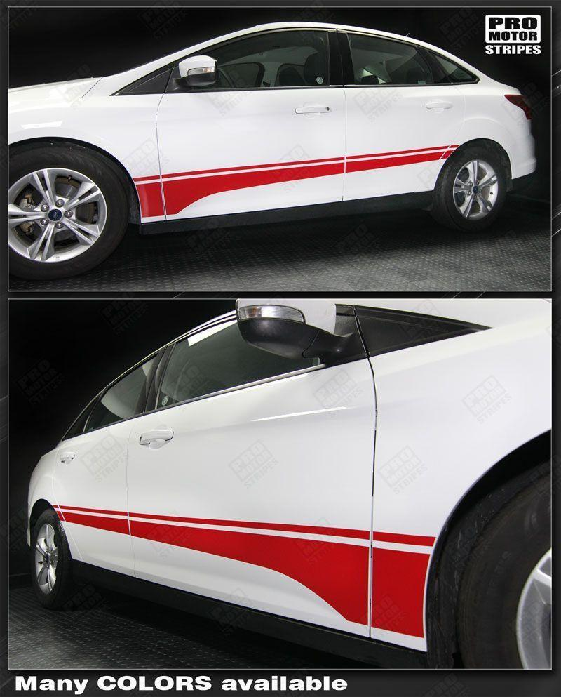 2011 2012 2013 2014 2015 2016 2017 2018 Ford Focus side  door  rocker panel Decals Stripes 152615240205-1