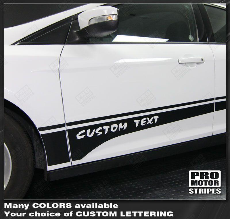 Ford Focus 2011-2014 Rocker Panel Side Accent Stripes Auto Decals - Pro Motor Stripes