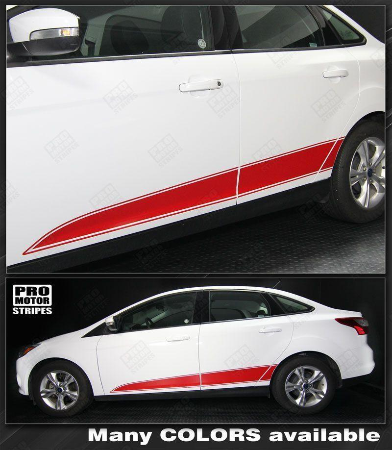 2011 2012 2013 2014 2015 2016 2017 2018 Ford Focus side  door  rocker panel Decals Stripes 122551591295-1
