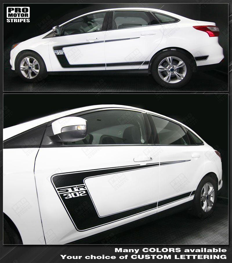 Ford Focus 2011-2014 Side C-Stripes BOSS 302 Style Decals Auto Decals - Pro Motor Stripes