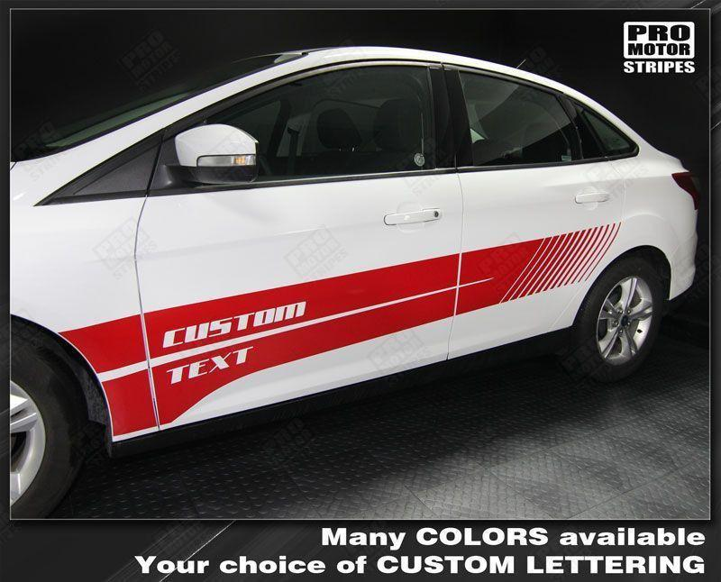 Ford Focus 2011-2014 Side Double Strobe Stripes Auto Decals - Pro Motor Stripes