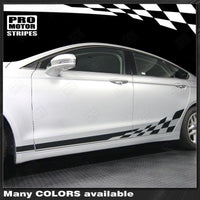 FORD FUSION 2013-2016 Checkered Rocker Panel Side Stripes Auto Decals - Pro Motor Stripes