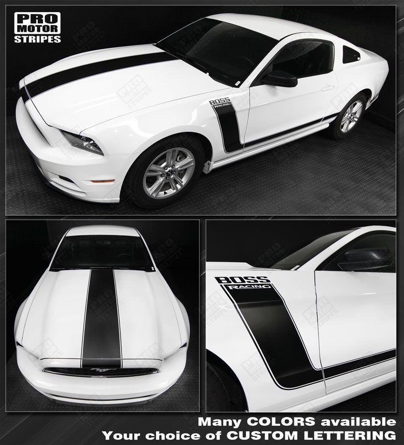 Ford Mustang 2010-2014 BOSS 302 Style Hood & Side Stripes Auto Decals - Pro Motor Stripes