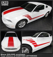Ford Mustang 2010-2014 Hood and Side Strobe Stripes Auto Decals - Pro Motor Stripes