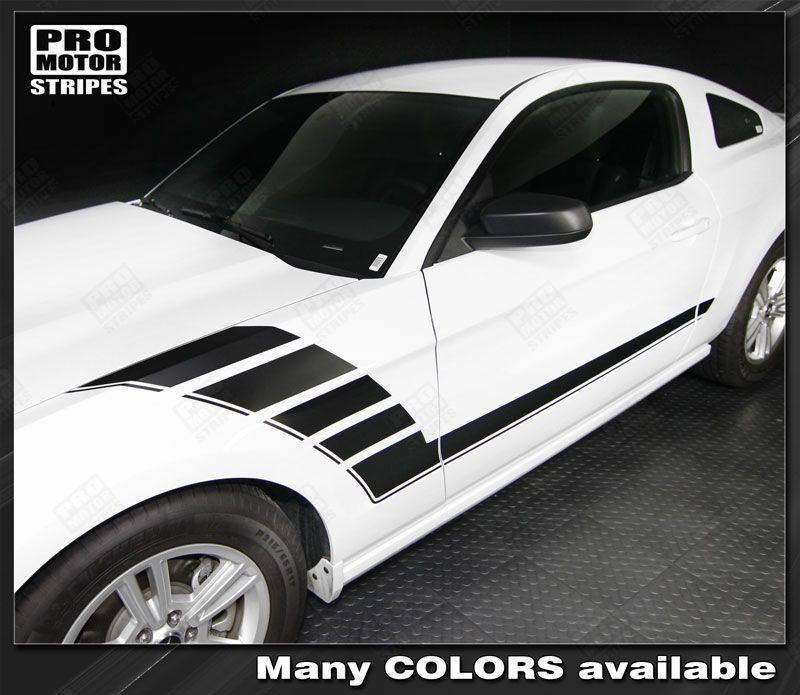 Ford Mustang 2010-2014 Side Accent Strobe Stripes Auto Decals - Pro Motor Stripes
