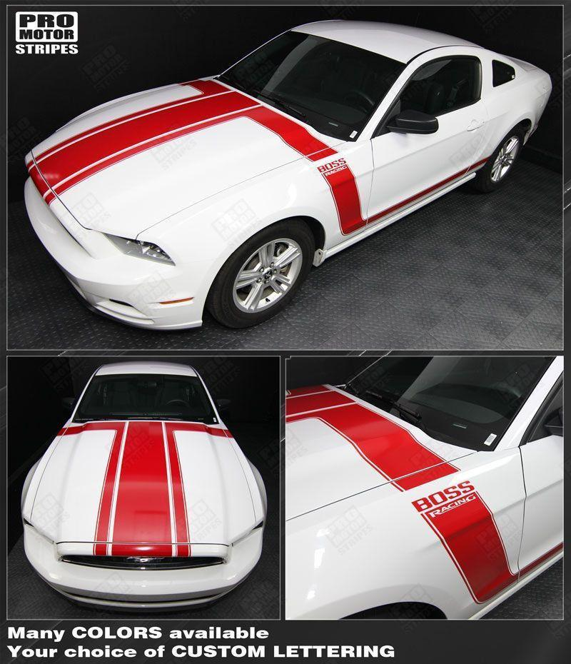 Ford Mustang 2013-2014 BOSS 302 Style Hood & Side Stripes Auto Decals - Pro Motor Stripes
