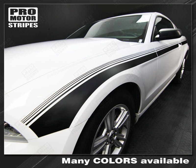 Ford Mustang 2013-2014 Javelin Side Accent Strobe Stripes Auto Decals - Pro Motor Stripes