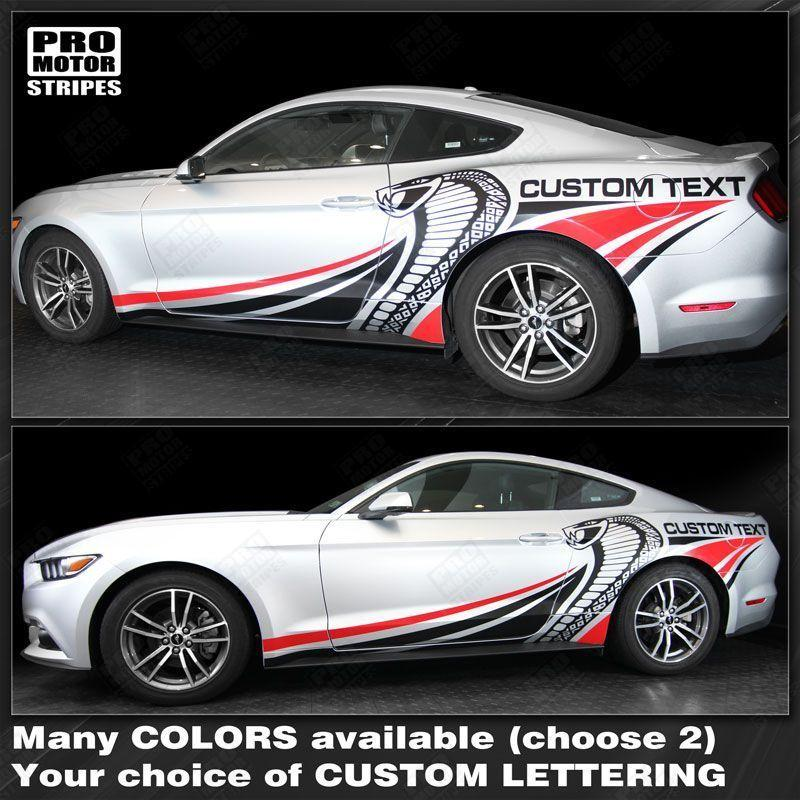 Ford mustang 2015 2017 cobra style multi color side stripes decal auto decals