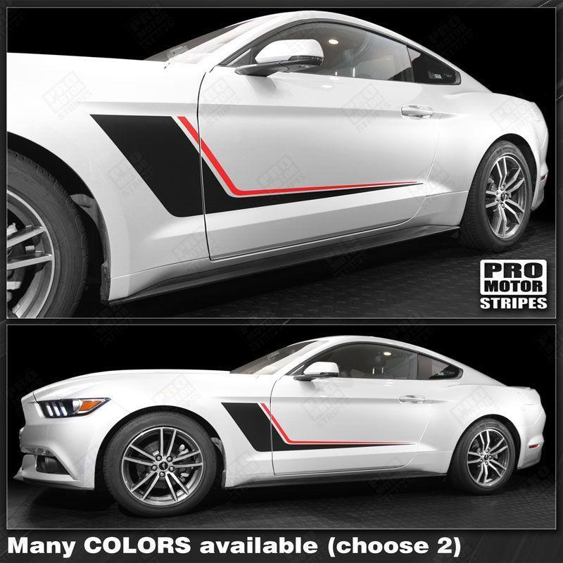 Ford Mustang 2015-2017 Duo Color Side Accent Stripes RSH10 Auto Decals - Pro Motor Stripes