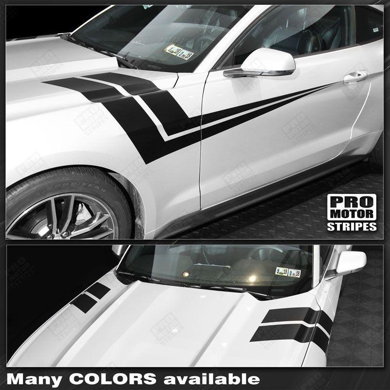 2005 2006 2007 2008 2009 2010 2011 2012 2013 2014 2015 2016 2017 2018 2019 Ford Mustang hood  side  door Decals Stripes 152733703947-1