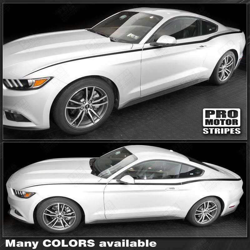 Ford mustang 2015 2017 rtr style side accent stripes auto decals pro motor stripes