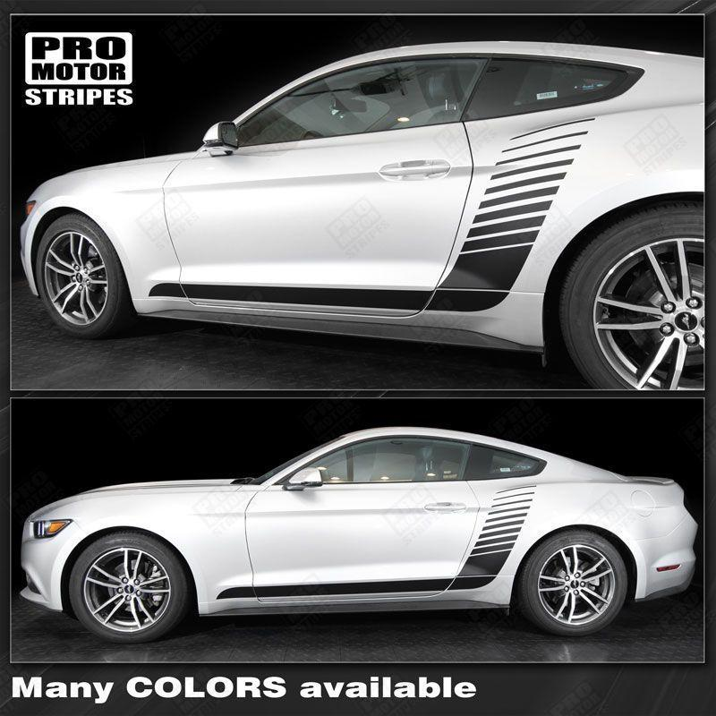 Ford Mustang 2015-2017 Side Hockey Style Strobe Stripes Auto Decals - Pro Motor Stripes
