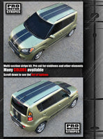 Kia SOUL 2008-2016 Over Top Center Double Stripes Auto Decals - Pro Motor Stripes