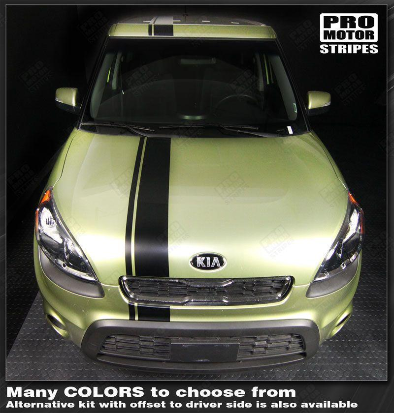 Kia SOUL 2008-2016 Over Top Offset Sport Stripes Auto Decals - Pro Motor Stripes