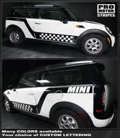 Mini Cooper 2008-2014 Checkered Side Highlight Stripes Auto Decals - Pro Motor Stripes