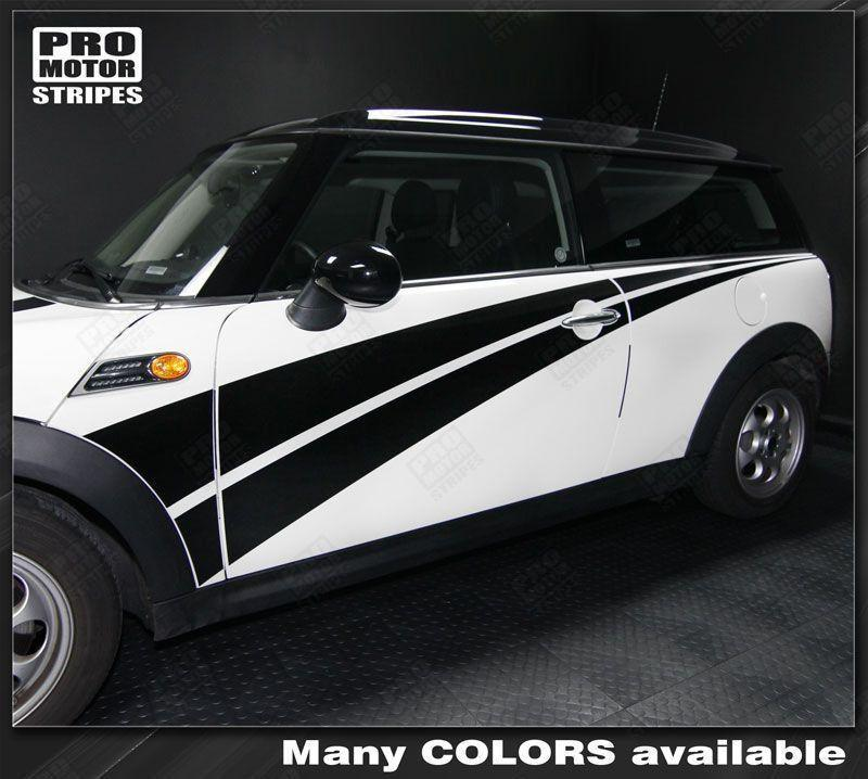 Mini Cooper 2008-2014 Full Length Double Side Stripes Auto Decals - Pro Motor Stripes