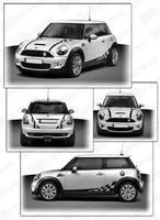 2008 2009 2010 2011 2012 2013 2014 Mini Cooper hood  side  trunk  door  rocker panel Decals Stripes 122551585486-2
