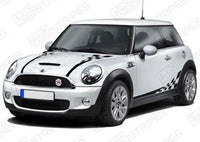 Mini Cooper 2008-2017 Checkered Hood, Sides & Back Stripes Auto Decals - Pro Motor Stripes