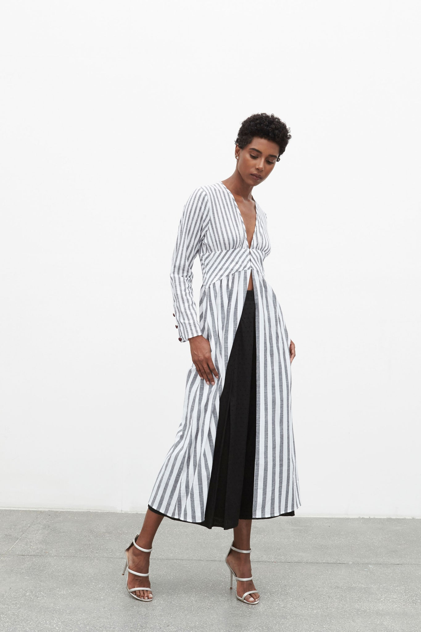 Ashore Stripe Duster | Grey
