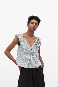 Penelope Ruffle Top | Grey