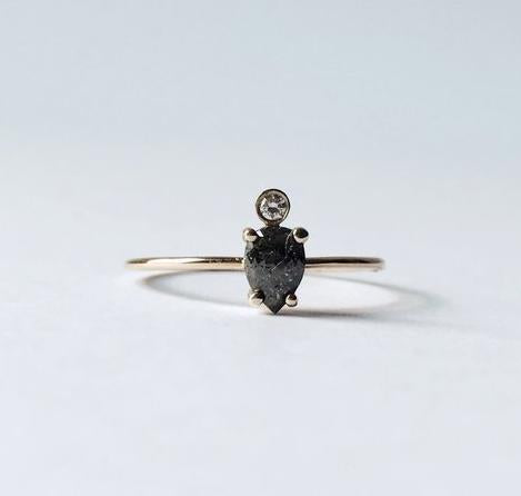 SMOKEY PEAR DIAMOND RING BY AM THORNE
