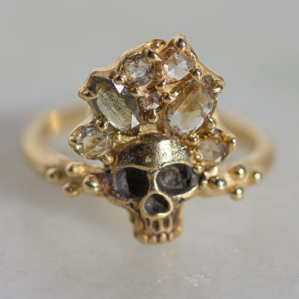 ROSE CUT SKULL RING