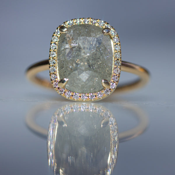 CUSHION CUT GREY DIAMOND ENGAGEMENT RING- SOLD