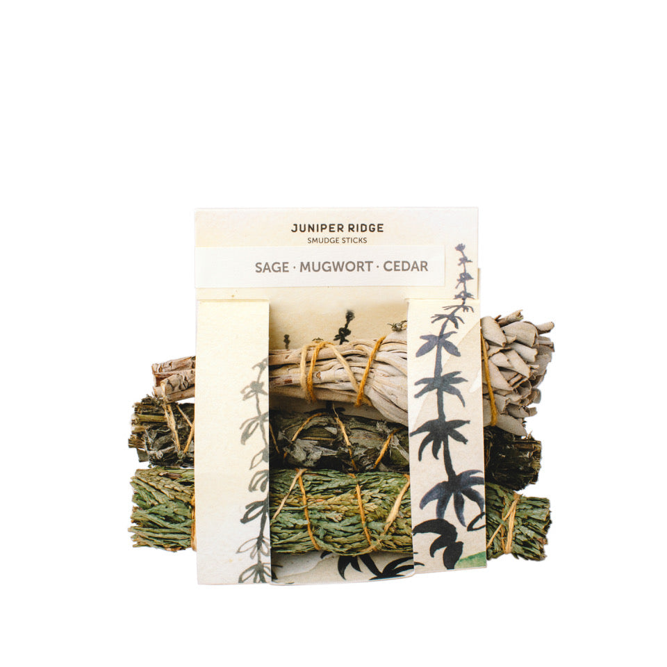 SMUDGE TRIO- SAGE, MUGWORT AND CEDAR BUNDLES