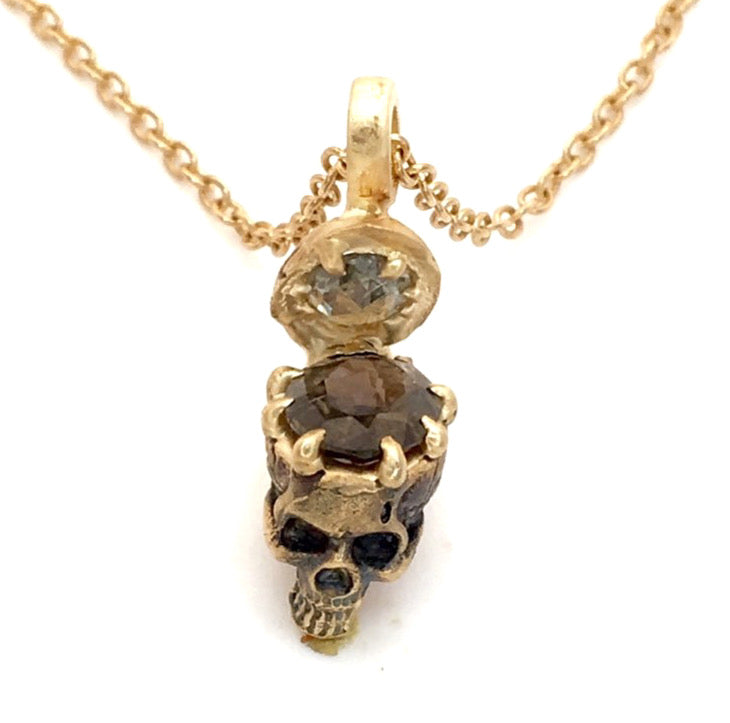 SKULL NECKLACE- SAPPHIRES FOR BRAINS