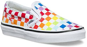Kids Vans Rainbow Classic Checkerboard Slip On