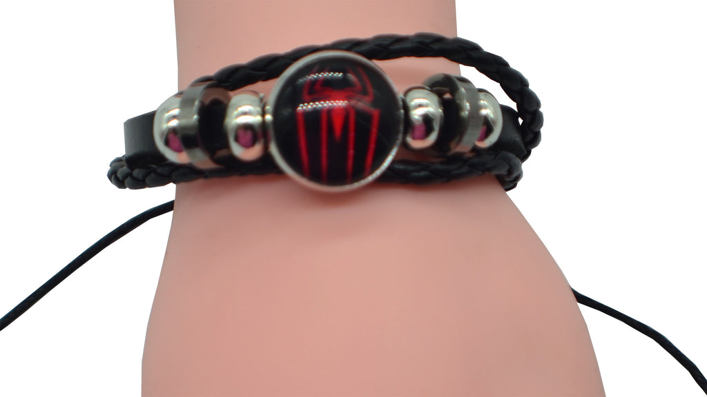 Spiderman Logo Leather Bracelet