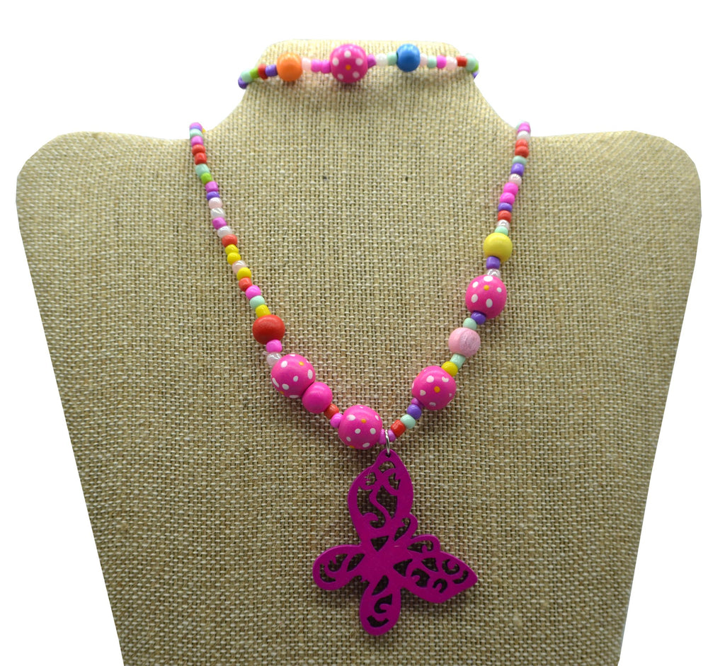 2pc Butterfly Charm Necklace Set