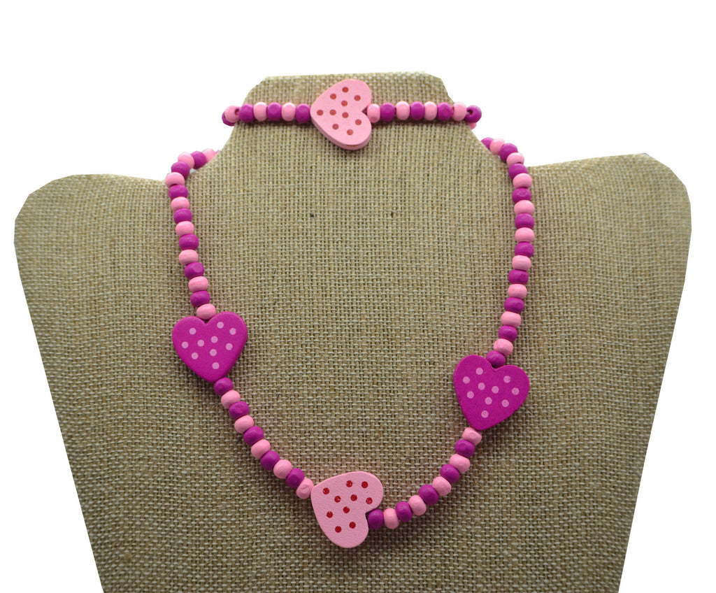 2pc Wood Hearts Necklace Set