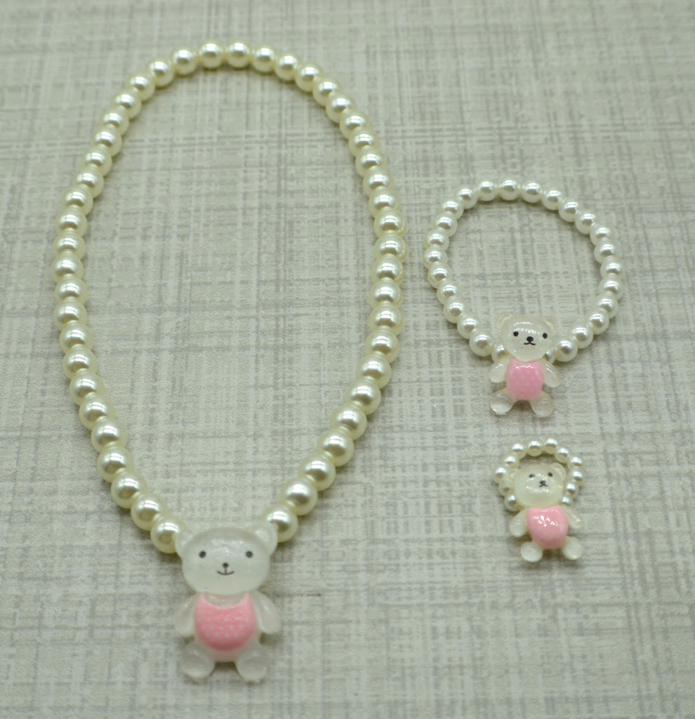 3pc Teddy Bear Pearl Necklace Set