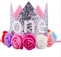 Baby 1st Birthday Glitter Headband Crown