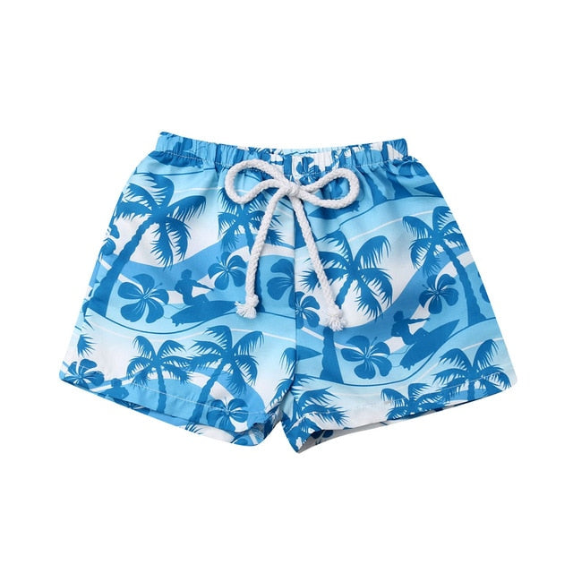 Boys Beach Print Swim Trunks
