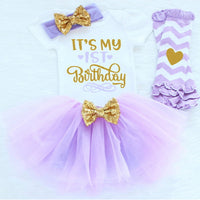 4pc Baby Girl 1st Birthday Chevron Tutu set
