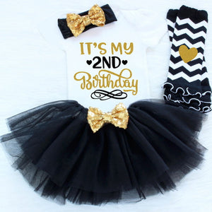 4pc Baby 2nd Birthday Chevron Tutu Set