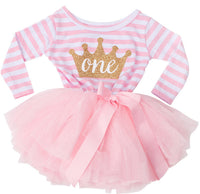 Girls 1st Birthday Stripe Tutu Dress