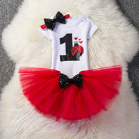 Baby Girl Lady Bug Birthday Tutu