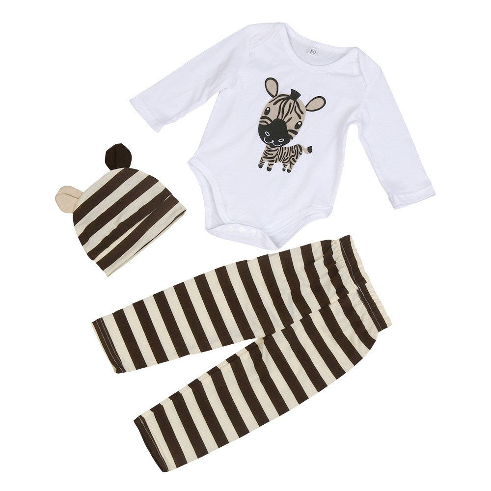 3pcs Baby Zebra Stripe Pants Set